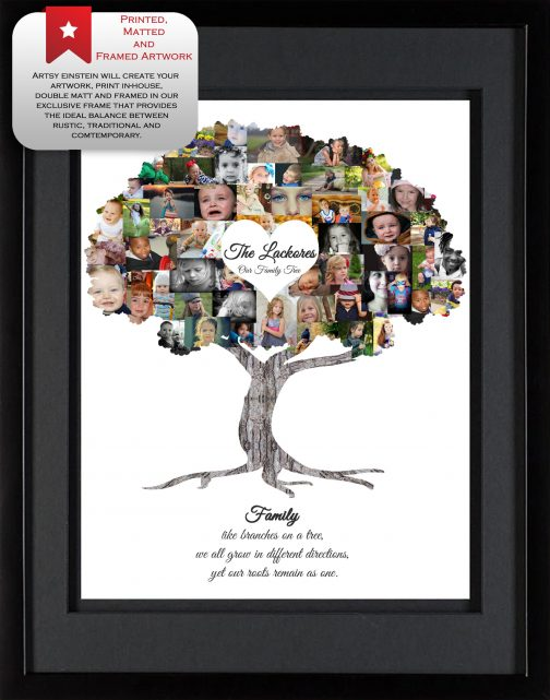 Family Tree Collage with Black Matted Frame