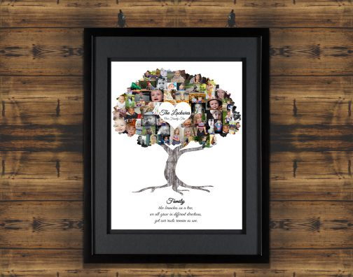 Family Tree Collage with Black Matted Frame and Backdrop