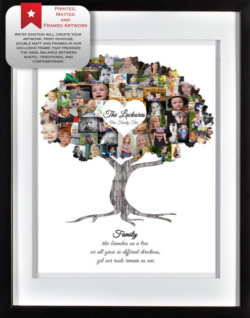 Family Tree Collage with White Matted Frame
