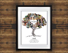 Family Tree Collage with White Matted Frame and Backdrop