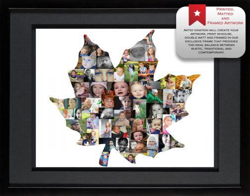Maple Leaf Collage with Black Matted Frame
