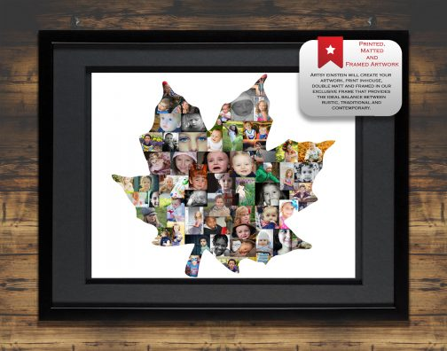 Maple Leaf Collage with Black Matted Frame and Backdrop