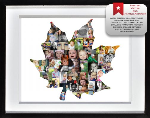 Maple Leaf Collage with White Matted Frame