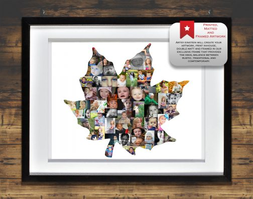 Maple Leaf Collage with White Matted Frame and Backdrop