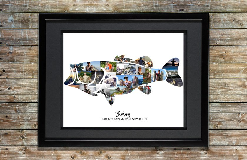 Bass Fishing Gift Premium Hand Crafted Photo Collage Artsy Einstein