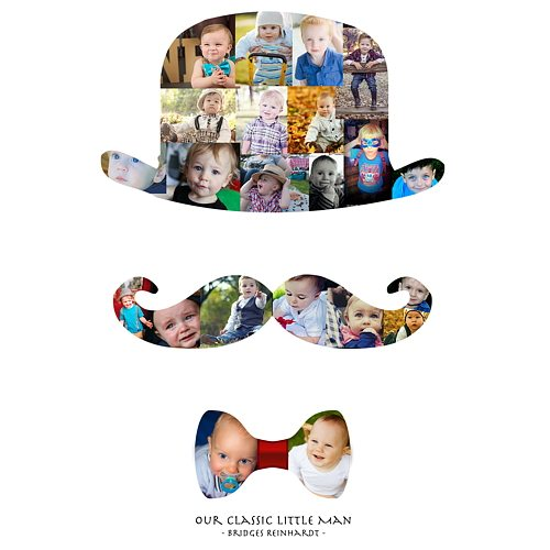 Bowler Hat, Bowtie, and Mustache Photo Collage