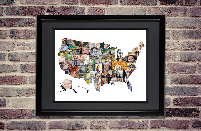 United States Map Picture Frame.Usa Photo Map Premium Hand Crafted Photo Collage Artsy Einstein