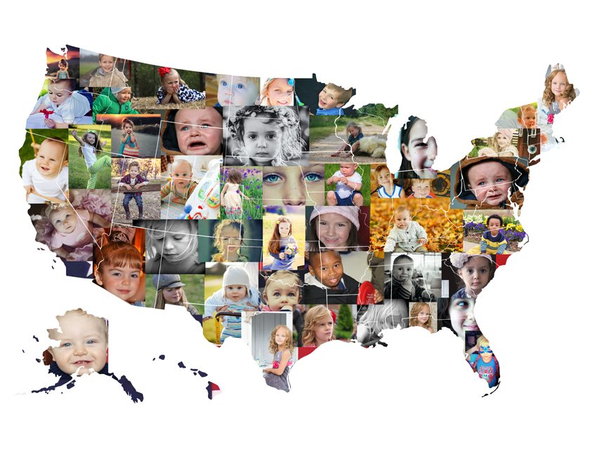 usa photo map collage