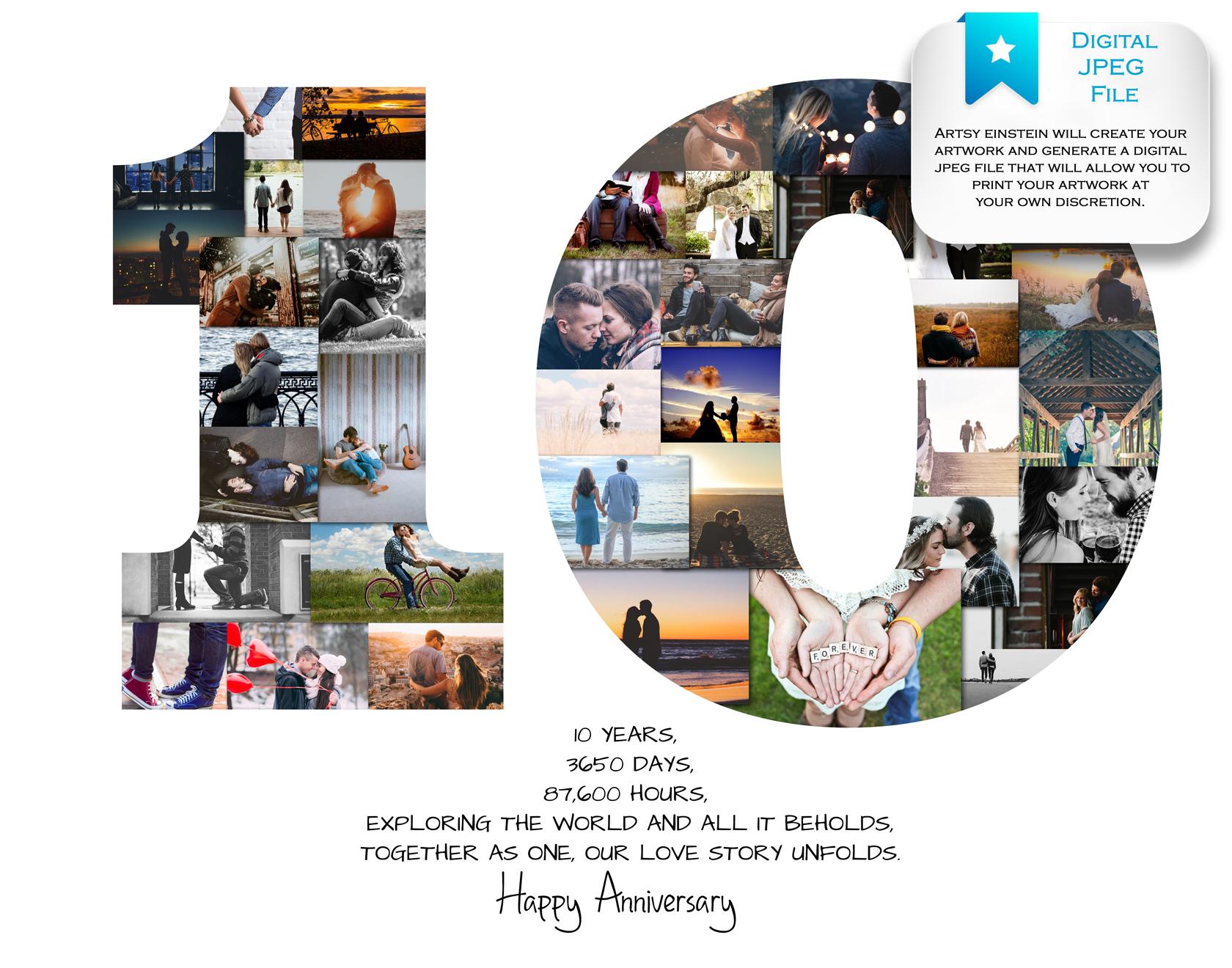 cb7c653243c 10th Anniversary Photo Collage – 10th Birthday Collage – Milestone  Anniversary Collage