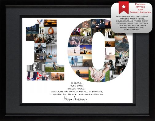 10th Anniversary Collage Black Matted Frame