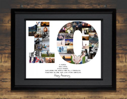 10th Anniversary Collage Black Matted Frame with Backdrop