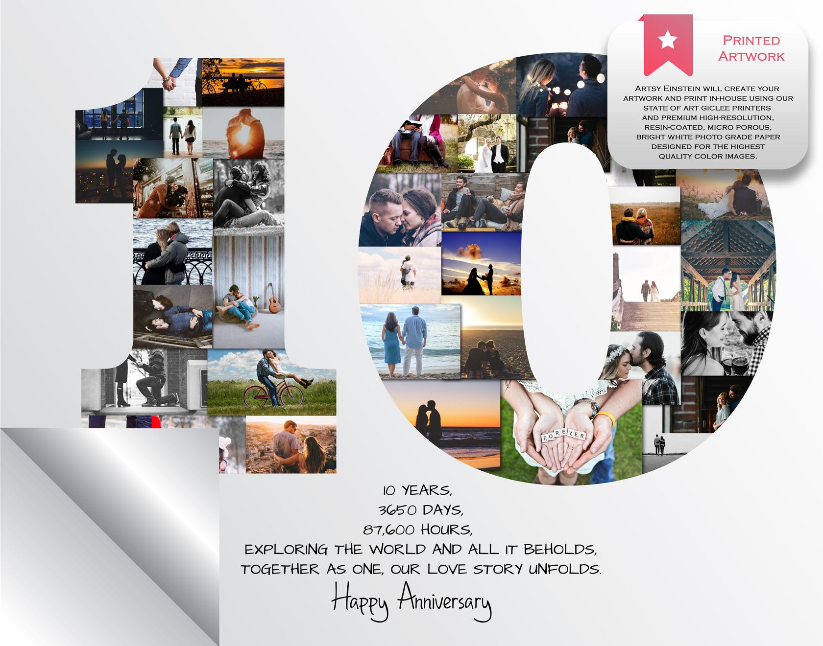 10th anniversary photo collage 10th birthday collage milestone anniversary collage