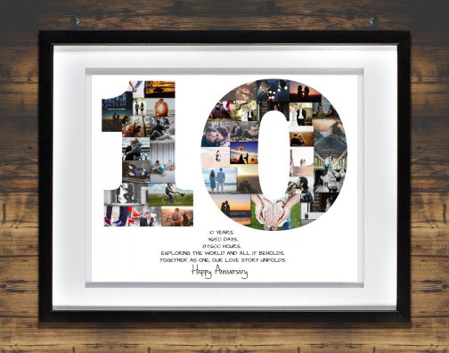 10th Anniversary Collage with White Matted Frame against Backdrop
