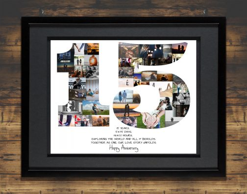 15th Birthday Photo Collage in Black Frame