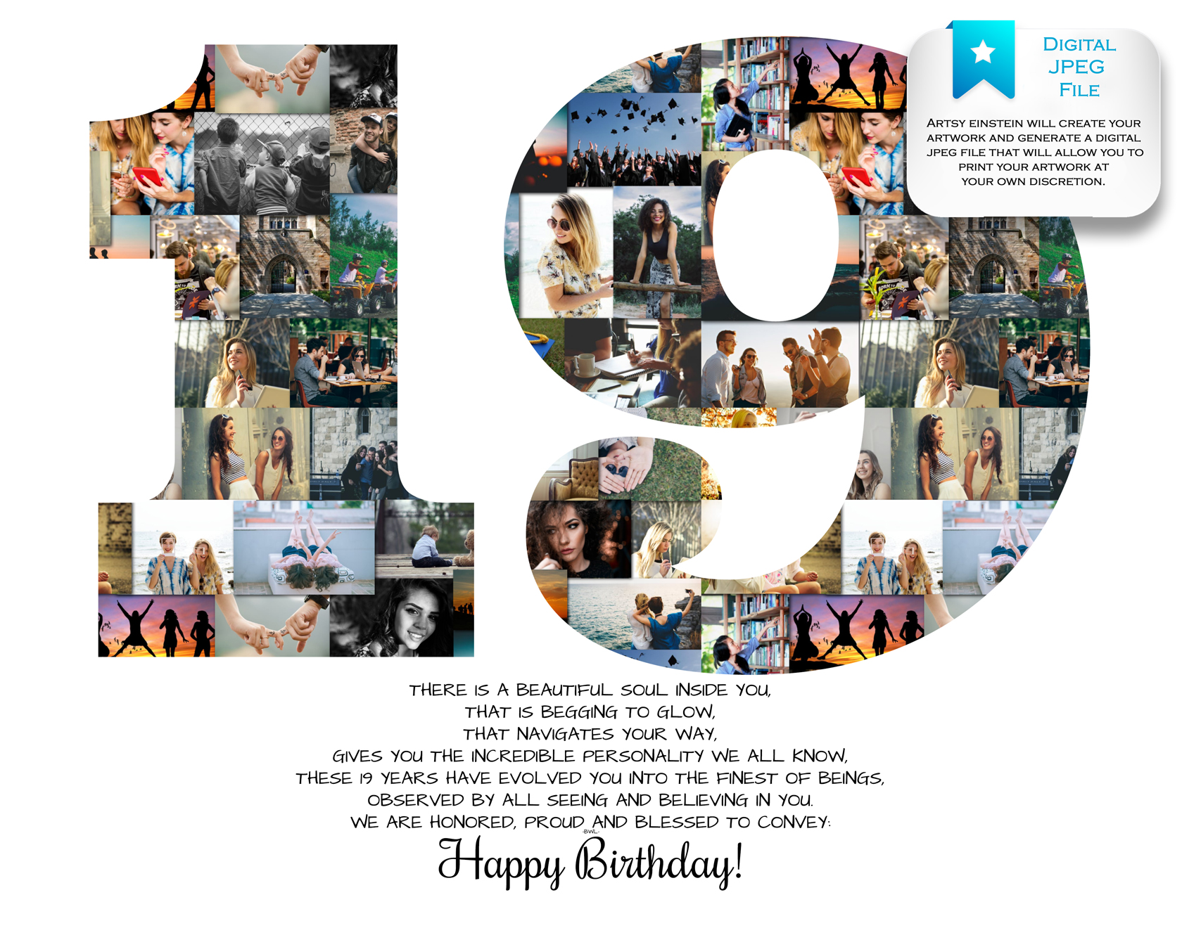 photo collage number templates - 19th birthday photo collage premium hand crafted collage