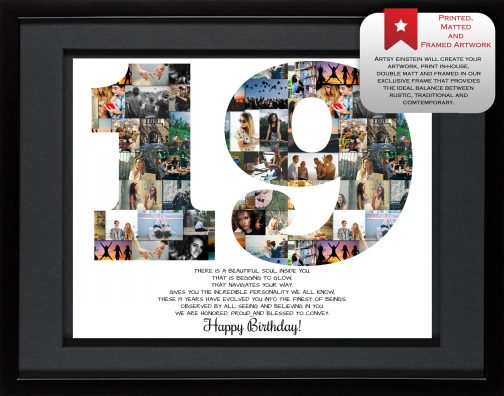 19th Birthday Collage Black Matted Frame
