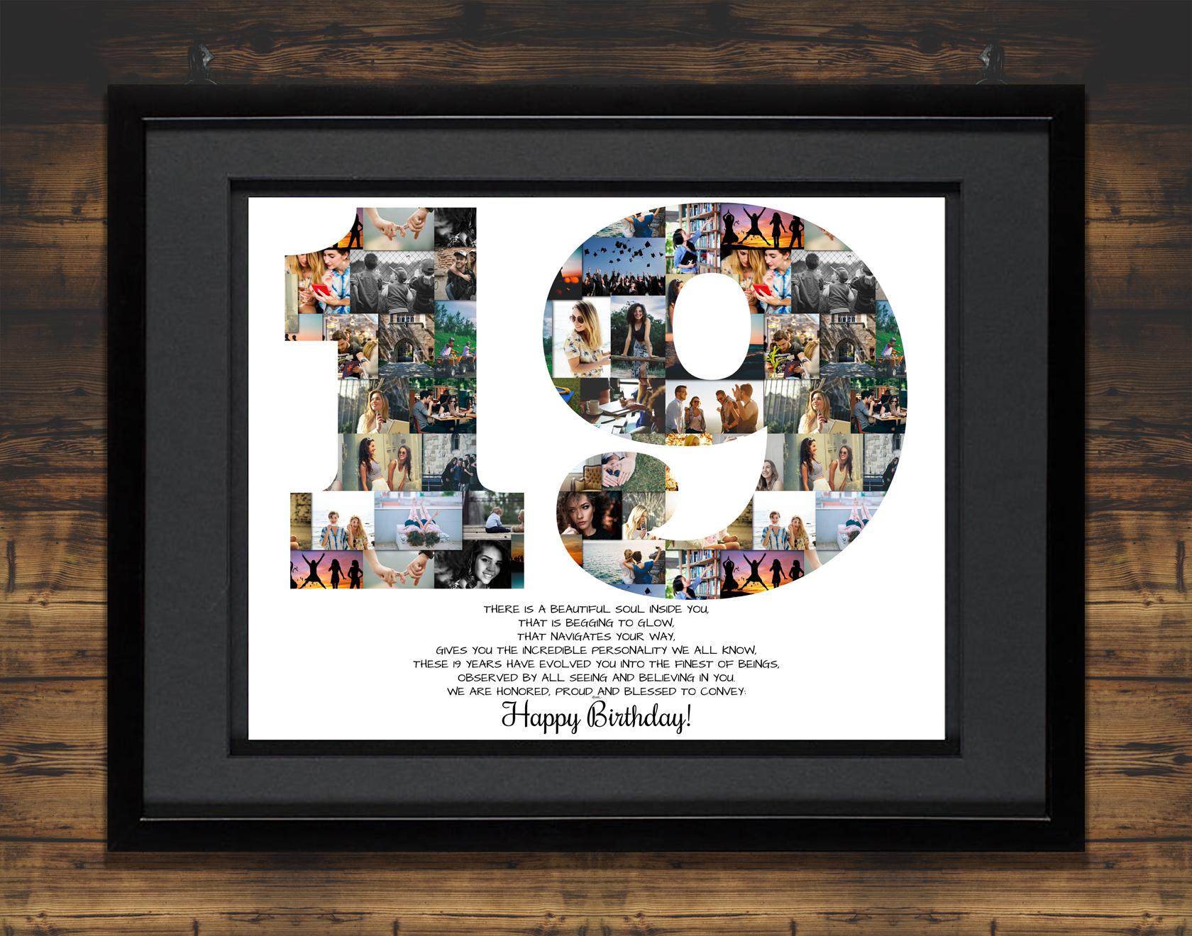 19th Birthday Photo Collage Gift Milestone Premium Hand Crafted Artsy