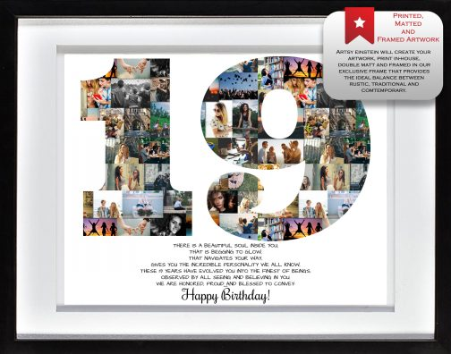 19th Birthday Collage White Matted Frame