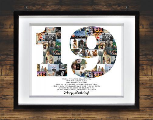 19th Birthday Collage White Matted Frame with Backdrop