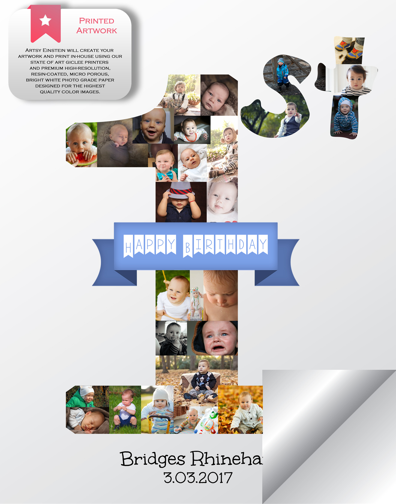 1st Birthday Photo Collage Gift Milestone