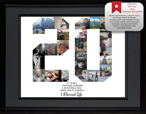 20th Birthday Collage Black Matted Frame