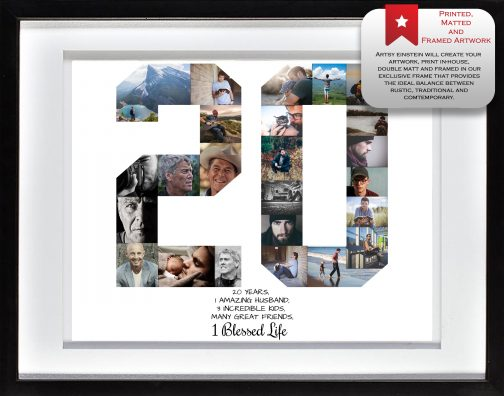 20th Birthday Collage White Matted Frame