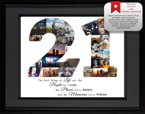 21st Birthday Collage Black Matted Frame