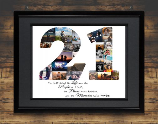 21st Birthday Collage Black Matted Frame with Backdrop