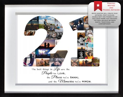 21st Birthday Collage White Matted Frame