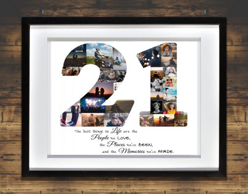 21st Birthday Collage with White Matted Frame against Backdrop