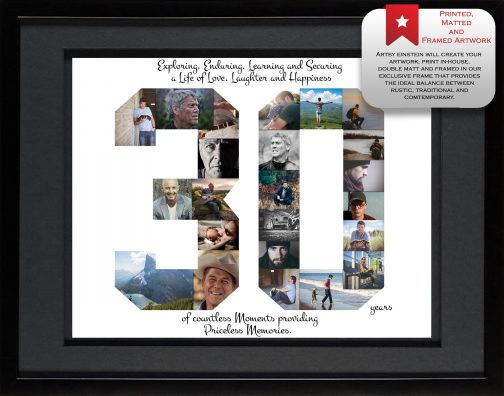 30th Birthday Collage Black Matted Frame