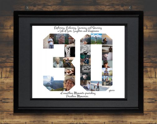 30th Birthday Collage Black Matted Frame with Backdrop