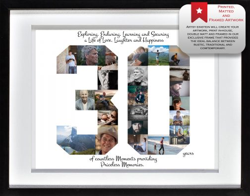 30th Birthday Collage White Matted Frame