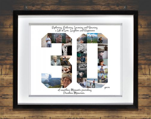 30th Birthday Collage with White Matted Frame against Backdrop