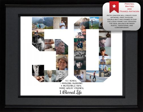 50th Birthday Collage Black Matted Frame