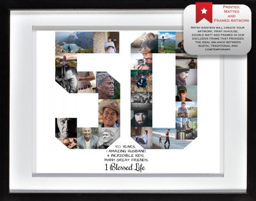 50th Birthday Collage White Matted Frame