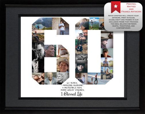 60th Birthday Collage Black Matted Frame