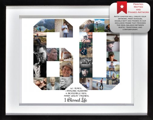 60th Birthday Collage White Matted Frame