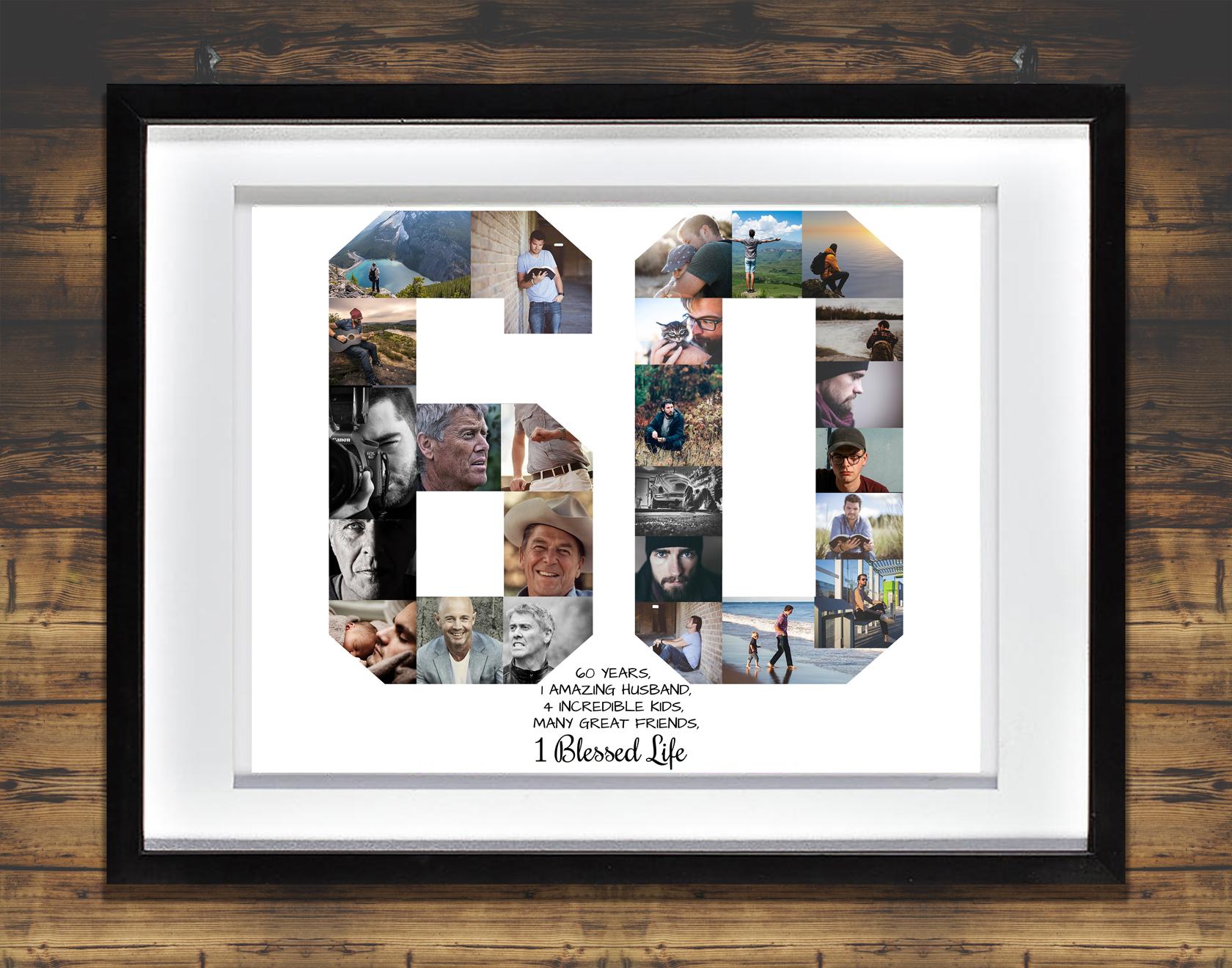60th Birthday Photo Collage Anniversary Milestone