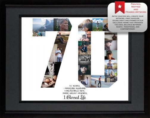 70th Birthday Collage Black Matted Frame
