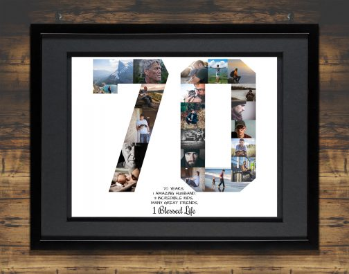 70th Birthday Collage with Black Matted Frame against Backdrop