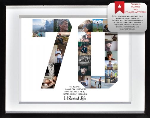 70th Birthday Collage White Matted Frame