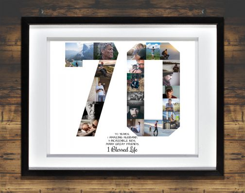 70th Birthday Collage White Matted Frame with Backdrop