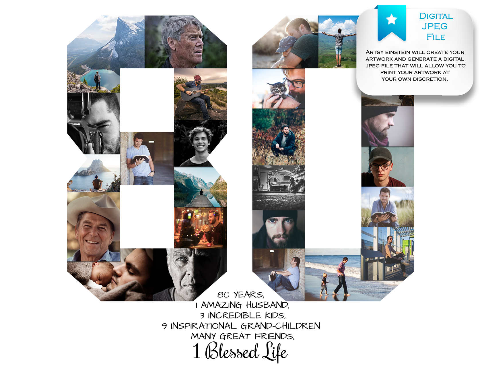 80th Birthday Photo Collage: Premium, Hand-Crafted Collage ...