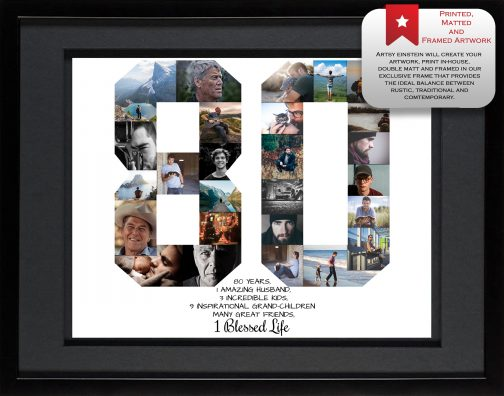 80th Birthday Collage Black Matting