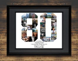 80th Birthday Photo Collage – 80th Birthday Gift – Milestone Birthday Collage