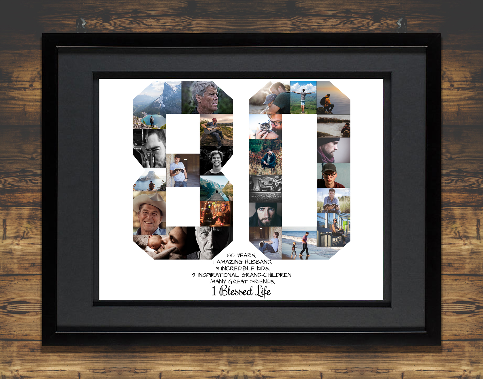 80th Birthday Photo Collage Gift Milestone