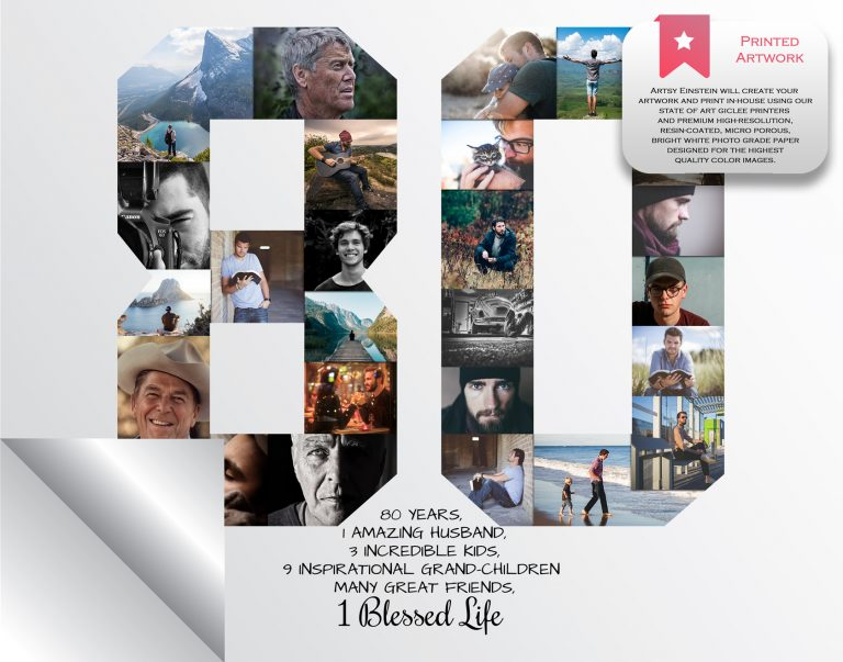 80th Birthday Collage Printed Version