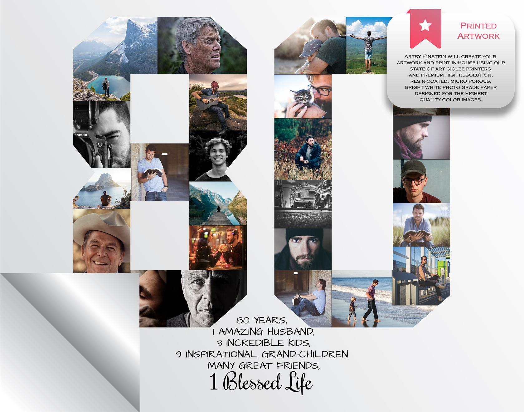 80th Birthday Photo Collage - 80th Birthday Gift - Milestone Birthday  Collage
