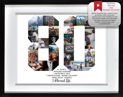 80th Birthday Collage White Matting